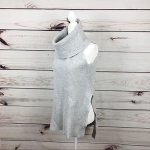 Express Cowl Neck Knitted Gray sleeveless sweater
